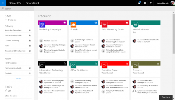 SharePoint home page with activity