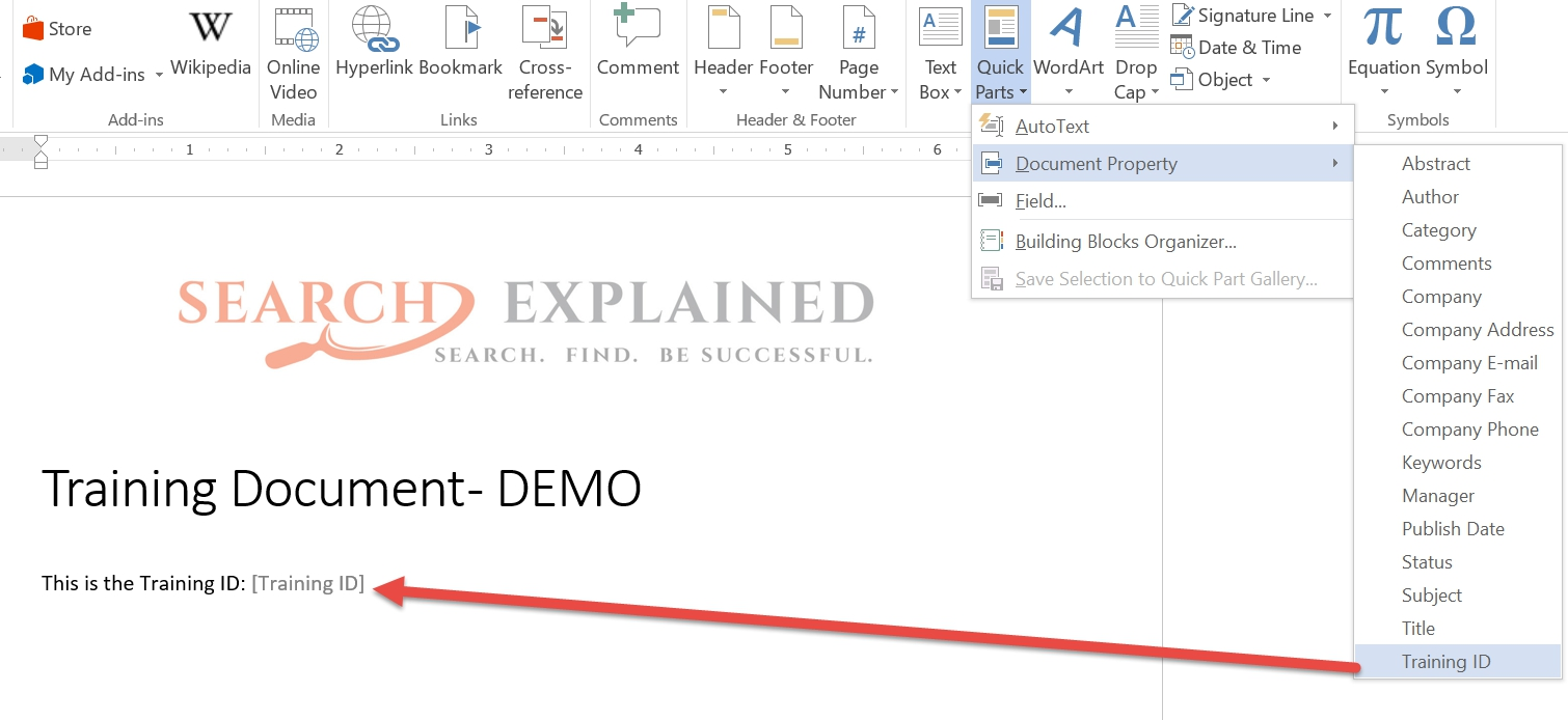 how to embed sharepoint columns into document templates search explained. Black Bedroom Furniture Sets. Home Design Ideas
