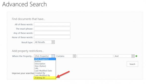 Advanced Search - Custom Property is added.