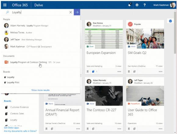 Personalized Search in Office 365 Delve