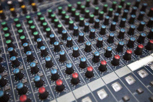 Close-up of sound recording equipment in studio