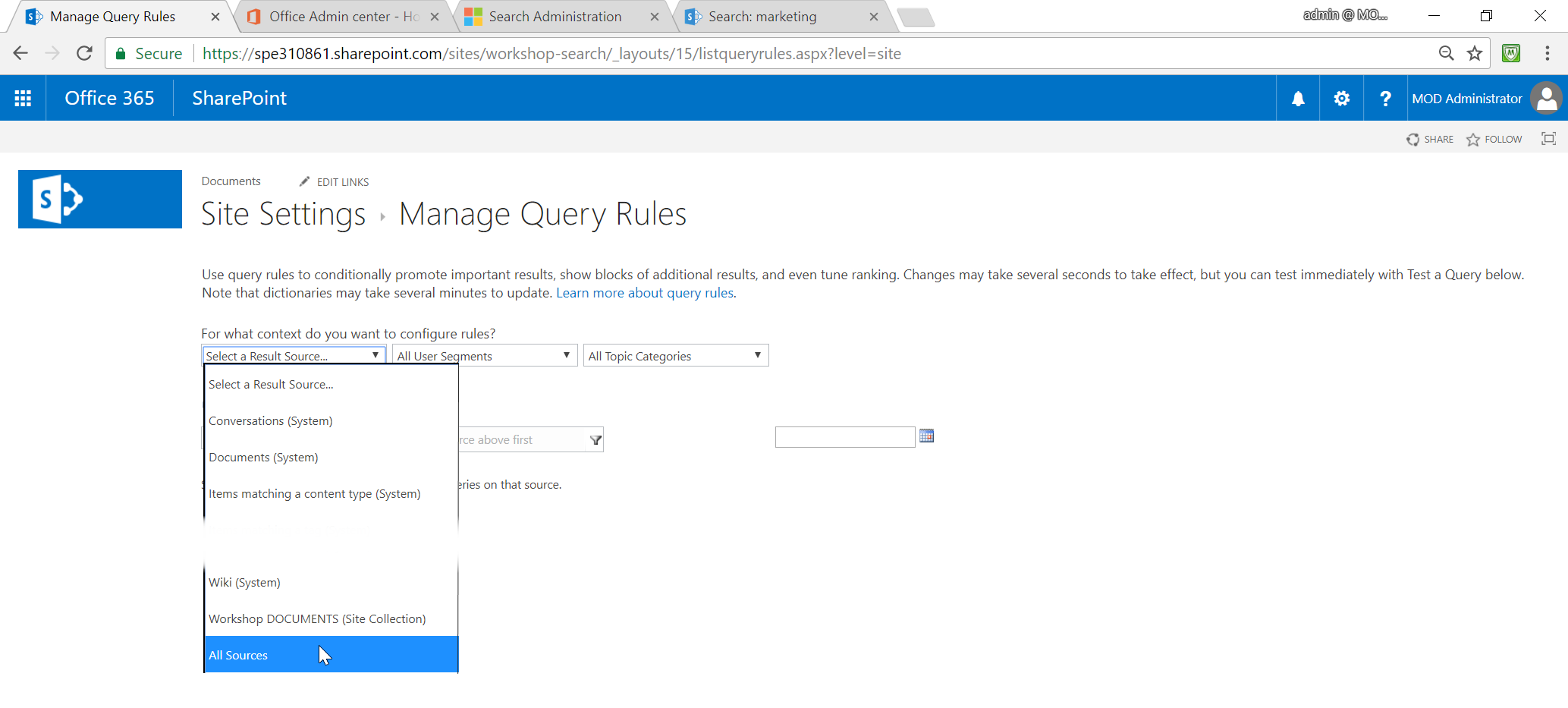 SharePoint Search Query Rule Select a Result Source