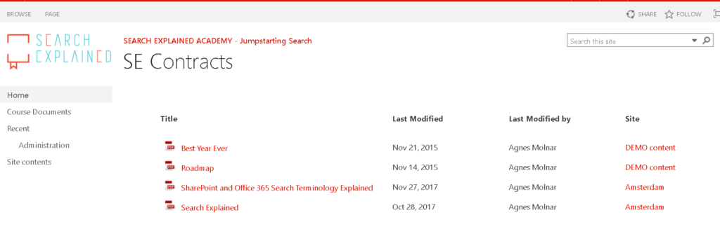 Your first Search-driven page: documents filtered by content type