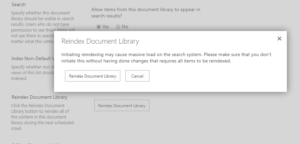 Re-crawl SharePoint document library or list in Office 365