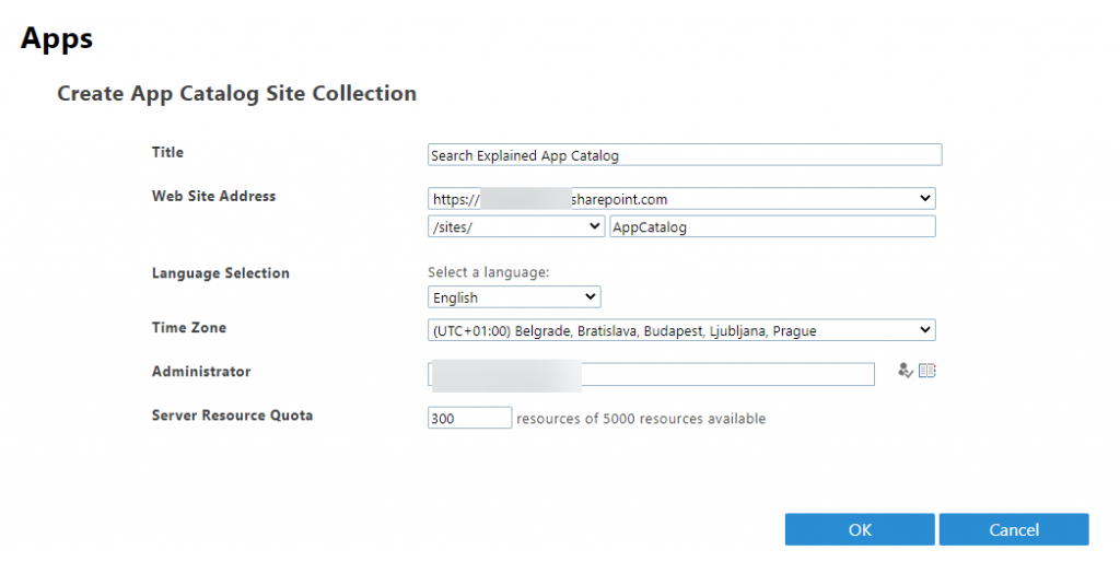 Create SharePoint App Catalog site collection
